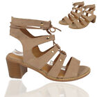 Ladies Strap Slingback Lace Up Open Toe Mid Chunky Heel Ankel Party Sandal Shoes