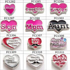 10pcs Family theme heart floating charms for living memory glass floating locket