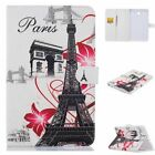 Floral Paris Tower Printed Wallet PU Leather Book Stand Case Cover For Tablets