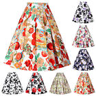 Womens Vintage Retro Floral Pattern Skirt Midi Full Circule Cocktail Dress NEW