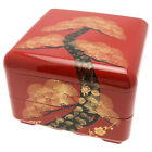 "Japanese Lacquer Tray & Stack Box 5-1/2""H Jubako Vermilion Pine/Accessory Box"