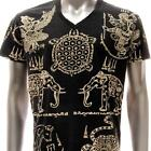 w46 M L XL Japanese Irezumi Tattoo VNECK T-shirt Magic Turtle Elephant HANUMAN