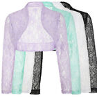 New Sheer Womens Lace Long Sleeves Bolero Shrug Cropped Layering Dress Jacket