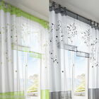 """Tab Top 55""""Wide 57""""-96"""" Embroidered Voile Faux Silk Window Curtain Panel"""