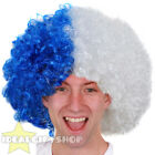FOOTBALL TEAM SUPPORTERS BLUE AND WHITE AFRO WIG NOVELTY HAIR FOR SPORTS EVENT