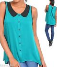 Teal/Black Contrast Button Front Keyhole Sleeveless/Tank Top S/M/L