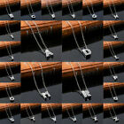 Silver Plated Crystal Alphabet Letter Name Charm Chain Pendant Necklace Gift