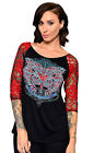 MJCK Harley-Davidson Womens Heart with Lace Detail Black 3/4 Sleeve Blouse Shirt