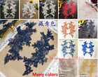 2PC Flower Motif Fabric Embroidered Lace Trim Sewing Applique Dress Decor FL177