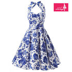 Women's Blue and White Floral Dress Vintage Halter 50s Rockabilly Swing Dress
