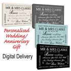 ~Personalised Wedding Anniversary Gift Canvas/Poster Print Stone Beige/Grey/Blue