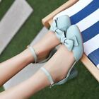 Lolita Womens Block Heels Bowtie Hollow Out  Mary Jane Ankle Strap Shoes Sandals