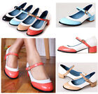 NEW Womens Girls RoundToe mary Jane Chunky Heel Vintage Leather Pump Shoes