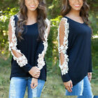 Fashion Women's Loose Lace Long Sleeve Casual Black Shirt Sexy Tops Hot