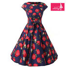 Women's Blue Strawberry Print Vintage Cap Sleeves 50s Rockabilly Swing Dress