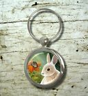 Key chain Keychain Round Rectangle Hare 55 Rabbit butterfly art painting L.Dumas