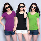 New Women's Cotton Short Sleeve Casual Solid Candy Color T-Shirt Tee Blouse Tops