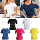 Women Summer Tunic T Shirt Sexy Cold Shoulder Casual Baggy Short Sleeve Blouse
