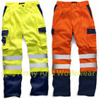 Hi Viz Two Tone Polycotton Cargo Trousers Work Combat Vis Visibility Mens Pants