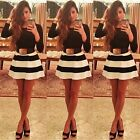 Fashion Women Cocktail Clubwear Party Skater Black White Stripe Mini Dress - LD