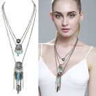 Women Multilay Necklace Boho Tassel Silver Gold Plated Statement Pendant Jewelry