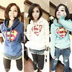 Superman Hoodie Sweatshirt Jumper Sweater Womens Warm Hooded Pullover Tops LA