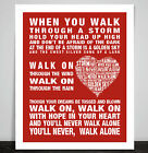 You'll Never Walk Alone Anthem Song Lyric Print Poster Heart Liverpool Football