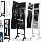 NEW FLOOR STANDING JEWELLERY MIRROR CABINET STORAGE BOX ORGANISER WHITE & BLACK