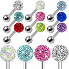 Surgical Steel Colorful Crystal Ball Barbell Bar Tongue Stud Body Piercing Ring