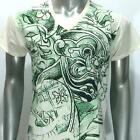 w58 M L XL Japanese Irezumi Tattoo VNECK T-shirt Giant God Demon Soft Cotton Men