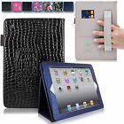 For Apple iPad 2 3 4 Leather Flip Case Card Slots Hand Elastic Strap Stand Cover