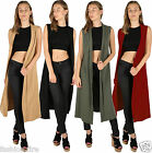 Womens Ladies Liverpol Fabric Open Sleeveless Festival Floaty Long Cardigan***