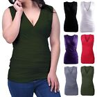 Women's Slimming Tank Top Ruched Side Faux Wrap Tunic V Neck Sleeveless Blouse