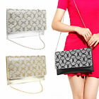 Women's Crystal Diamante Clutch Wedding Party Prom Envelope Bag Silver Gold