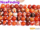 8mm Brown DZI Fire Agate Faceted Round Stone Beads For Jewelry Making Strand15''