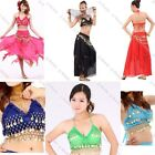 Women Sexy Folded Lace Gold Coins Belly Dancing Bra Top Belly Dancewear Costum