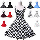 Women Vintage Hepburn Style 50s 60s Party Casual Pinup Flared Swing Dress XS-XL