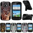 For ZTE Sonata| ZTE Radiant| Hybrid Hard Bumper Stand Case Deer Hunting Leaves