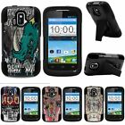 For ZTE Sonata| ZTE Radiant| Hybrid Hard Bumper Stand Case Indie Designs