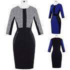 Sexy Women 3/4 Sleeve Pencil Midi Slim Fit Formal Evening Party Bodycon Dress