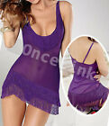 Sexy Lingerie Sheer Purple Babydoll Nightie Tassel Gowns Chemise Dress G-string