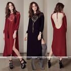 2016 Womens Fashion Long Bracelet sleeve Evening Party Cocktail Backless Dress