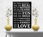 In This House/Family Quote Picture Wall Canvas Print Black Picture A1/A2/A3/A4