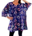 We Be Bop Art to Wear BATIK DAISY Flat Rayon SWING TOP