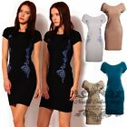 donna vestiti Womens Celeb Optical Slimming abiti abito Kleid Party Dress D16979