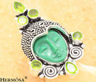 Vintage Carve Face Green Peridot HANDMADE Sterling Silver Ring Sz.8,4