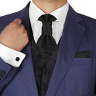 VS2010 Mens Tuxedo Vest Black Pattern cufflinks hanky Ascot Tie set Y&G