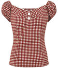 Collectif DOLORES Sweetheart GINGHAM Scot Vintage Bluse SHIRT Rockabilly