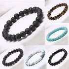 Men's Fashion Natural Lava Stone Buddha Lucky Energy Charms Bracelet 8mm Bead