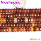 Natural Red Carnelian Agate Rondelle Disc Spacer Stone Beads Jewelry Making 15""